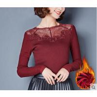 秋冬新款修身小衫圆领大码网纱上衣加绒加厚蕾丝打底衫女长袖