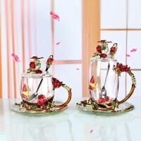 珐琅彩水杯花茶杯家用带盖水晶玻璃杯套装情侣杯耐热玻璃礼物对杯