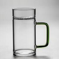 月牙杯办公室玻璃过滤绿茶杯水杯透明家用创意日式男女士大容量