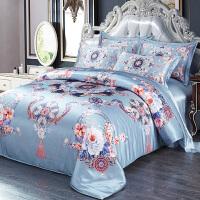 真丝四件套100桑蚕丝床上用品被套床单丝绸喷绘欧式床品套件