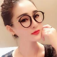 2018082709232332018新款复古近视眼睛框女文艺圆脸韩版大脸圆型简约超轻眼镜框架潮无镜片