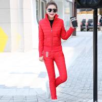 2018冬季新款韩版外套棉袄羽绒女套装大码加厚棉衣棉裤两件套