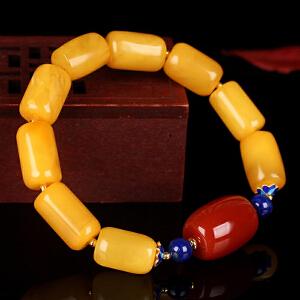 蜜蜡满蜡桶珠创意DIY串款手串 配南红桶珠