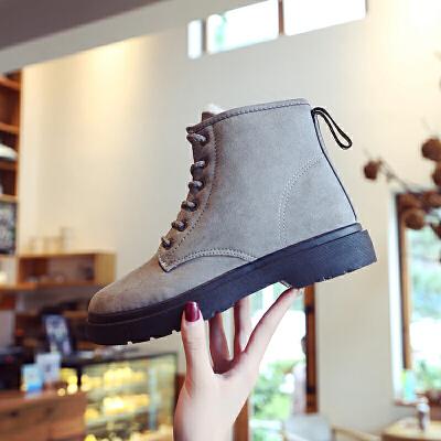 2018冬季新款韩版雪地靴女马丁靴学生加绒保暖棉鞋防滑短靴女靴子   【新款上新,支持七天退换货,欢迎购买】