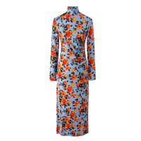 女装 欧美风秋季旗袍式连衣裙气质立领中长款紧身包臀裙