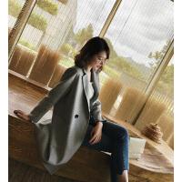 欧美秋装新款西装款中长款双面呢大衣羊毛外套女潮 灰色