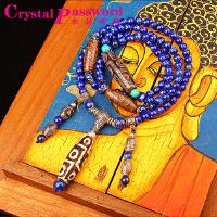 水晶密码CrystalPassWord原创天然阿富汗青金石藏银天珠佛珠手链SJMM3-039