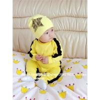 婴儿连体衣春秋季李小龙宝宝哈衣爬爬服男女中小童衣服婴幼儿童装 黄色
