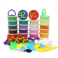 轻粘土套装 彩泥 儿童DIY 24色套装  新生彩轻粘土彩泥无毒橡皮泥太空泥24色套装含模具