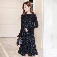 孕妇春装2018新款两件套上衣韩版孕妇套装连衣裙雪纺打底长裙春夏 黑色