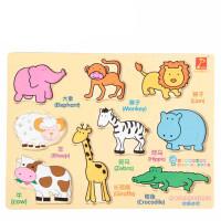 奇特3件套木制拼图拼板数字动物汽车认知 宝宝1-3岁益智玩具