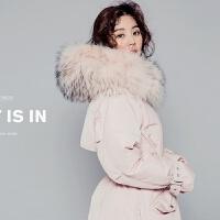 2018羽绒服女中长款新款大毛领韩版修身加厚宽松大码斗篷型潮