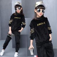 儿童装女童金丝绒套装2018新款韩版时尚中大童洋气春装卫衣三件套