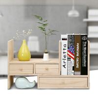 实木办公桌面收纳盒桌上置物架创意抽屉组合书架 办公桌面整理架 桐木(环保无漆)