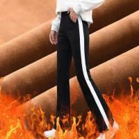 加绒加厚显瘦高腰百搭韩板休闲侧条纹白边校服微喇阔腿运动裤