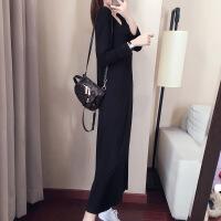 2018秋季女装新款长袖连衣裙长款圆领黑色显瘦拖地长裙打底黑裙子