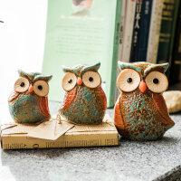 家居饰品猫头鹰摆件一家三口陶瓷工艺品 美式乡村创意客厅装饰品