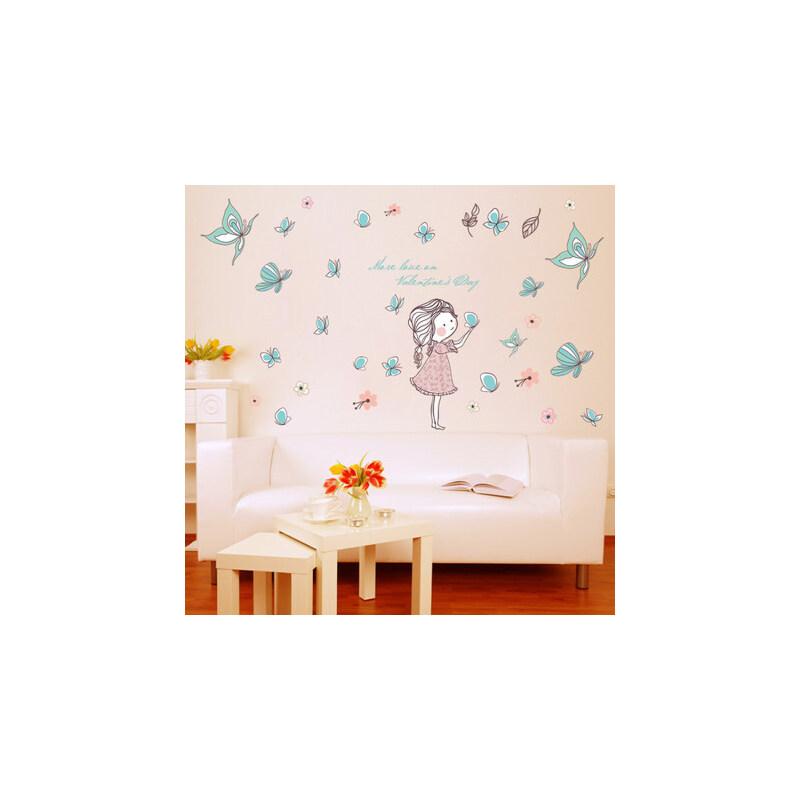 放飞蝴蝶墙贴贴纸客厅卧室温馨墙饰贴餐厅背景墙大墙贴画婚房装饰