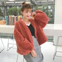 秋冬女装韩版宽松短款加厚羊羔毛保暖长袖外套学生外搭毛毛开衫潮