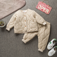秋冬款儿童棉衣男童夹棉套装两件套男宝宝外套小童童装韩版潮