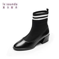 莱尔斯丹 秋冬圆头粗跟袜子靴短筒女靴短靴9T52105