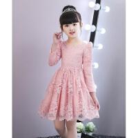 女童连衣裙秋新款小女孩长袖蕾丝裙子红色女宝宝周岁礼服公主裙
