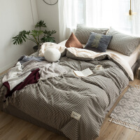 棉四件套纯棉床上用品水洗棉被子三件套双人床笠床单被套