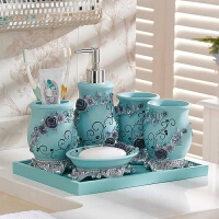 卫浴五件套婚庆礼品洗漱套装欧式卫浴套装组合浴室用品漱口杯托盘