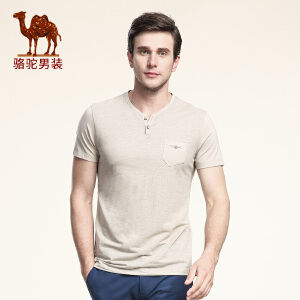 骆驼男装 夏季新款微弹时尚门筒领修身纯色休闲短袖T恤衫 男