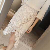 春季2018新款韩版不规则蕾丝半身裙女高腰荷叶边包臀裙4721 杏色