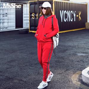 MsShe加大码冬装2017新款微胖减龄加厚磨毛针织运动套装M1740236