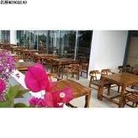 户外实木家具室内休闲饭馆餐厅喝茶店聊天洽谈复古桌椅子组合