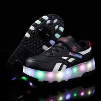 儿童鞋可充电童鞋暴走鞋学生双轮隐形按钮轮滑鞋男童女童轮子溜冰鞋