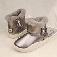 儿童雪地靴女童冬季 防水 加绒真皮男童中筒短靴皮面保暖宝宝棉鞋