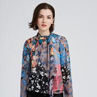 DAZZLE地素 春夏新款花色飘带衬衫雪纺衫女2F4D5316G