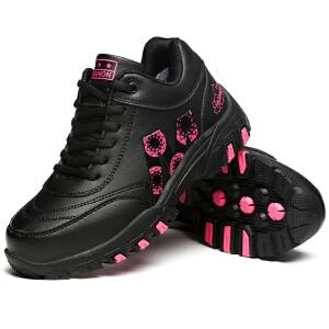 秋冬季加绒运动鞋跑步鞋女韩版厚底加棉皮鞋青年学生休闲鞋潮棉鞋