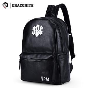 【支持礼品卡支付】DRACONITE潮牌pu双肩包男女情侣款学生电脑包11215A