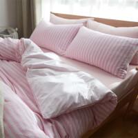 君别天竺棉四件套针织棉床单式日式简约条纹被套床笠 2.0m(6.6英尺)床 床笠款(天)包裹床垫