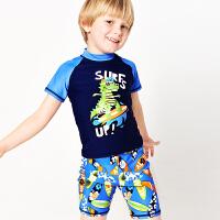 弈姿EZI儿童学生防晒游泳衣男童宝宝分体短袖冲浪服中小童 16075
