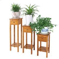 竹山下 客厅花架楠竹花架子 多层 室内花架 带小抽屉花架古典花架