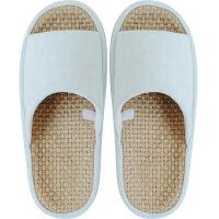 家居拖鞋 新品日式牛仔厚底防滑亚麻透气夏季凉拖鞋女家居家用情侣男士办公室内