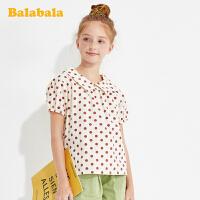 巴拉巴拉童装女童短袖衬衫儿童衬衣夏装中大童波点上衣潮