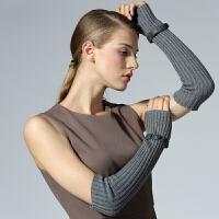 冬季长款露指半指手套时尚保暖假袖子开车触屏羊毛手臂套袖套女秋