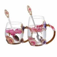 家用水杯有盖勺文艺软妹花茶杯可爱 情侣一对玻璃杯子