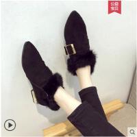 毛毛鞋女冬季新款韩版尖头磨砂毛毛女单鞋保暖加绒中跟女鞋潮