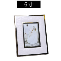 新古典简约现代礼物婚纱照欧式6寸7寸皮质金属个性创意相框摆台相 皮纹