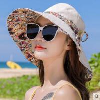 遮阳帽子女韩版潮户外运动新品防晒百搭双面渔夫帽网红同款时尚出游大沿沙滩太阳帽女