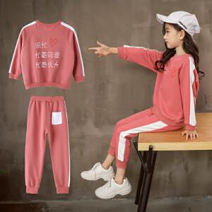 童装2019春秋季新款女童很忙套装儿童长袖T恤+长裤女孩两件套