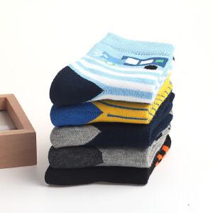 【5双装】彩桥男童袜子纯棉儿童袜子卡通中大童学生袜子