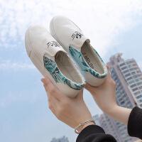 2018春季帆布鞋女平底韩版低帮休闲女鞋一脚蹬懒人鞋女乐福鞋